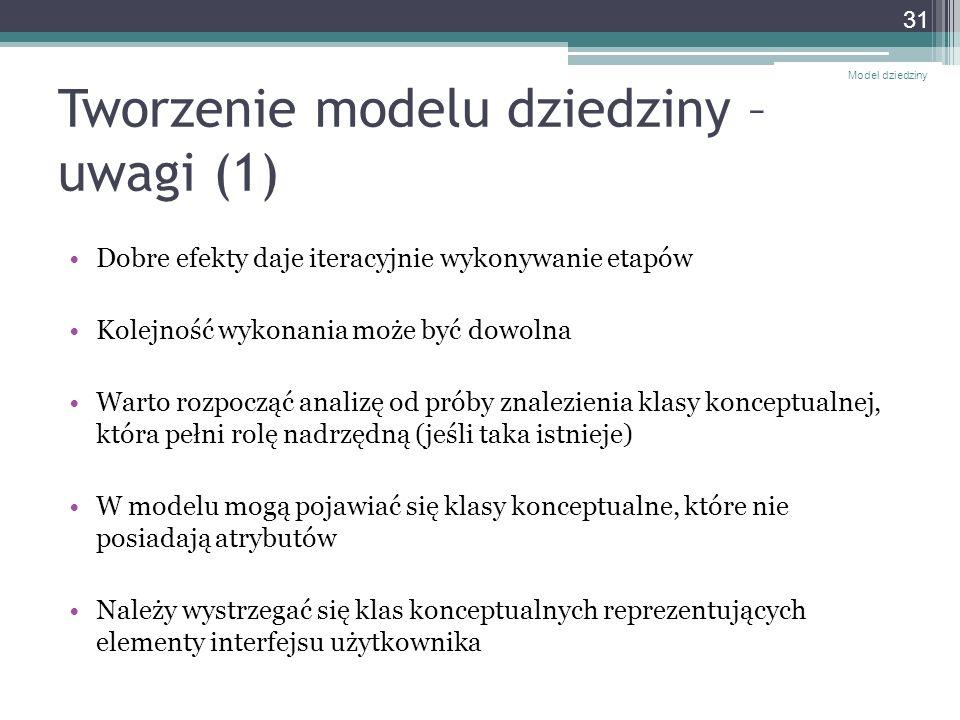 Tworzenie modelu dziedziny – uwagi (1) Dobre efekty daje iteracyjnie wykonywanie etapów Kolejność wykonania może być dowolna Warto rozpocząć analizę o
