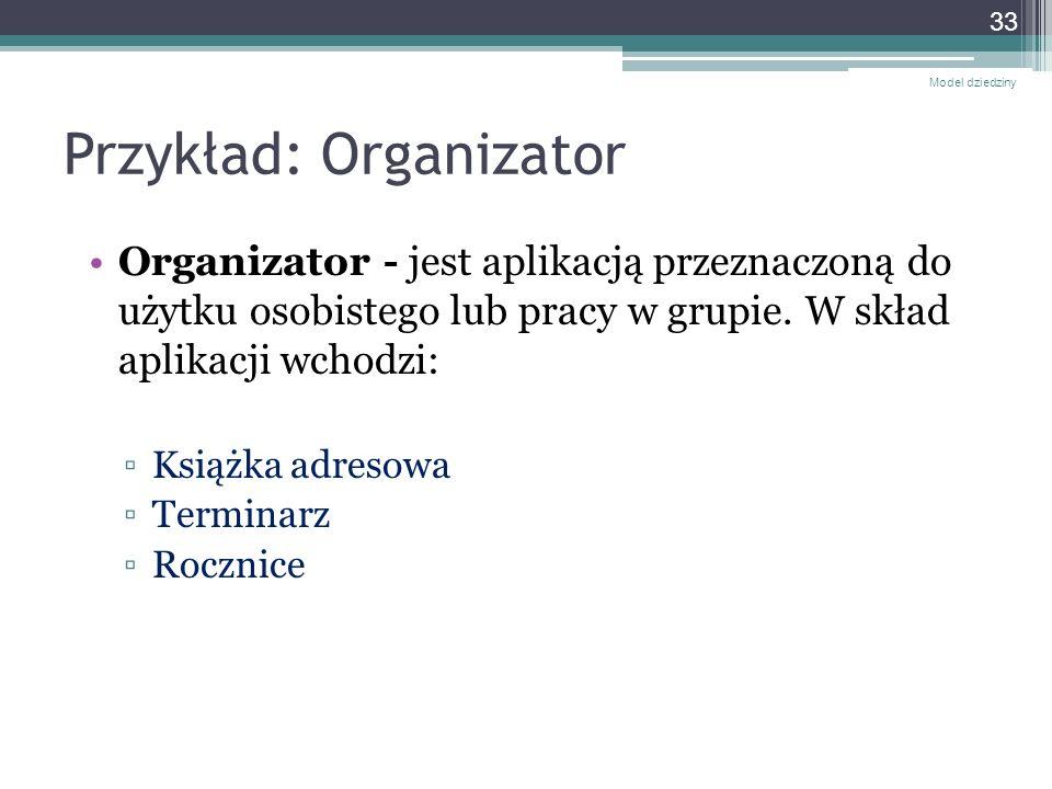 Przykład: Organizator Organizator - jest aplikacją przeznaczoną do użytku osobistego lub pracy w grupie. W skład aplikacji wchodzi: Książka adresowa T