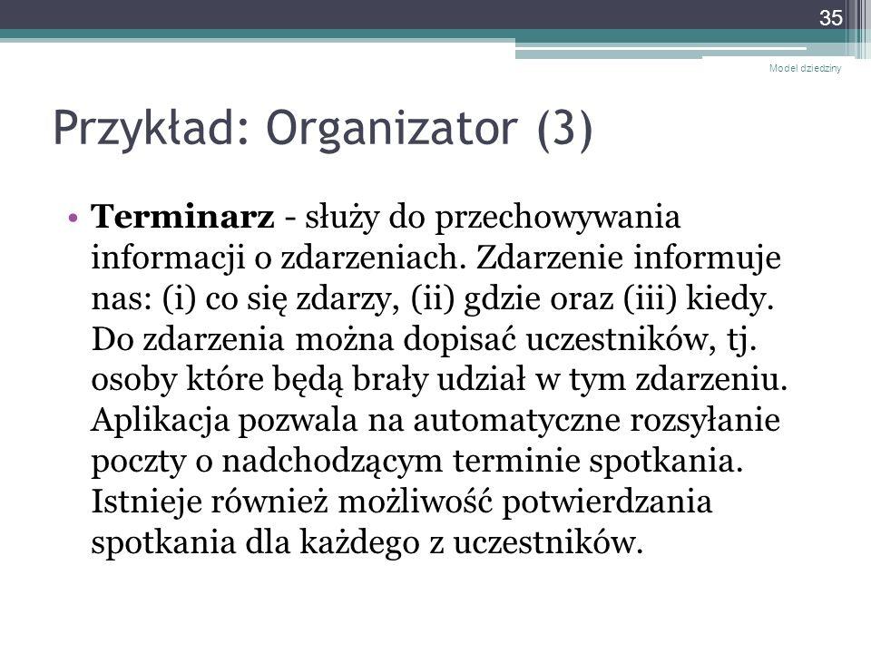 Przykład: Organizator (3) Terminarz - służy do przechowywania informacji o zdarzeniach. Zdarzenie informuje nas: (i) co się zdarzy, (ii) gdzie oraz (i
