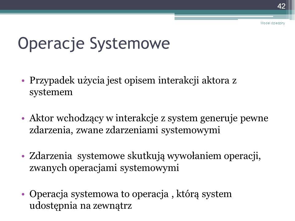 Operacje Systemowe Przypadek użycia jest opisem interakcji aktora z systemem Aktor wchodzący w interakcje z system generuje pewne zdarzenia, zwane zda