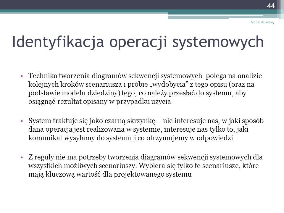 Identyfikacja operacji systemowych Technika tworzenia diagramów sekwencji systemowych polega na analizie kolejnych kroków scenariusza i próbie wydobyc
