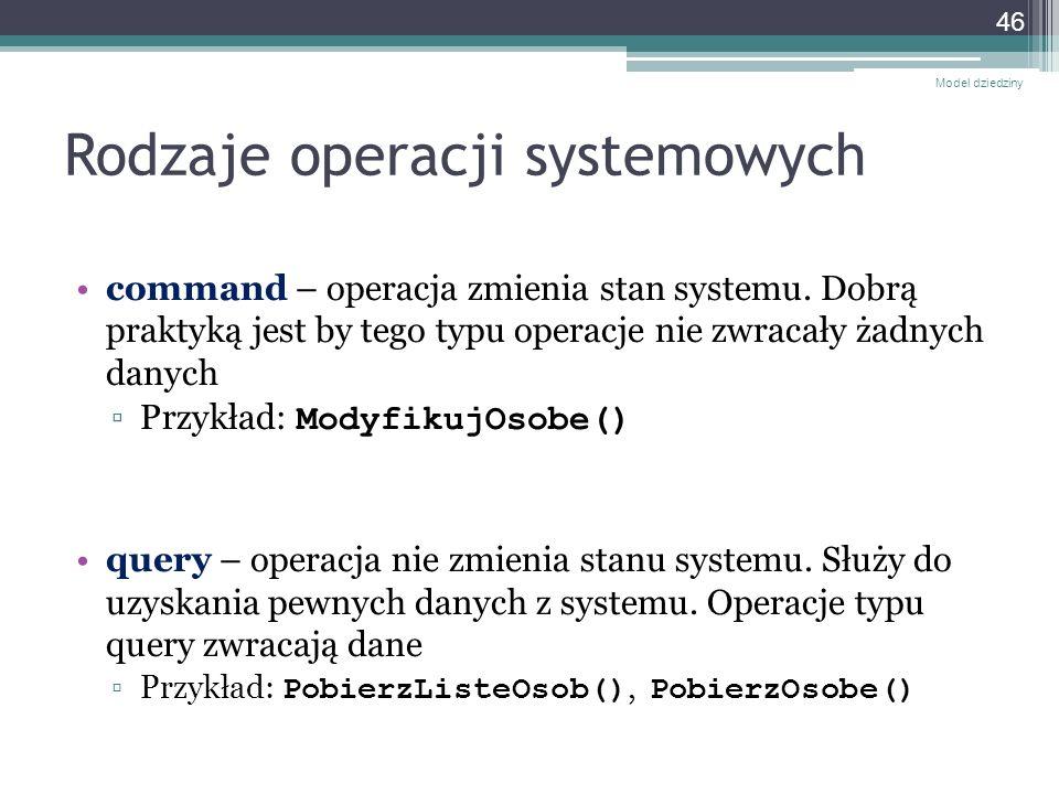 Rodzaje operacji systemowych command – operacja zmienia stan systemu. Dobrą praktyką jest by tego typu operacje nie zwracały żadnych danych Przykład: