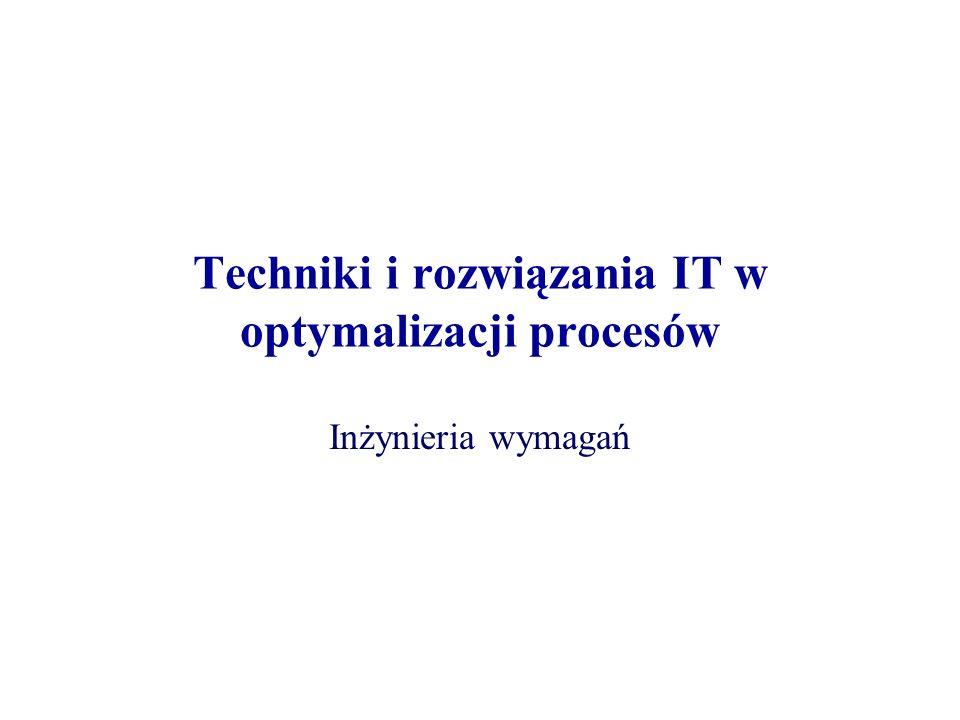 Techniki i rozwiązania IT w optymalizacji procesów Inżynieria wymagań