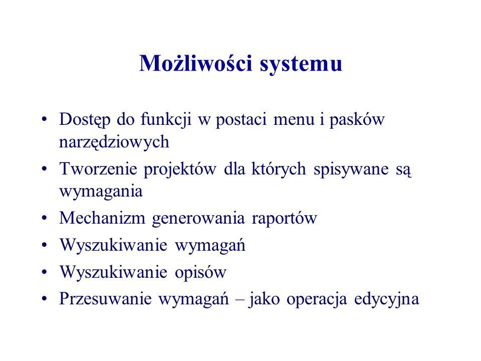Możliwości systemu Dostęp do funkcji w postaci menu i pasków narzędziowych Tworzenie projektów dla których spisywane są wymagania Mechanizm generowani