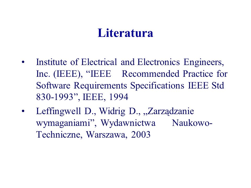 Literatura Institute of Electrical and Electronics Engineers, Inc.