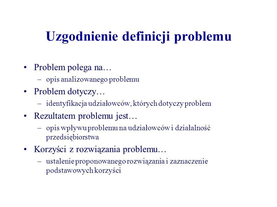 Uzgodnienie definicji problemu Problem polega na… –opis analizowanego problemu Problem dotyczy… –identyfikacja udziałowców, których dotyczy problem Rezultatem problemu jest… –opis wpływu problemu na udziałowców i działalność przedsiębiorstwa Korzyści z rozwiązania problemu… –ustalenie proponowanego rozwiązania i zaznaczenie podstawowych korzyści