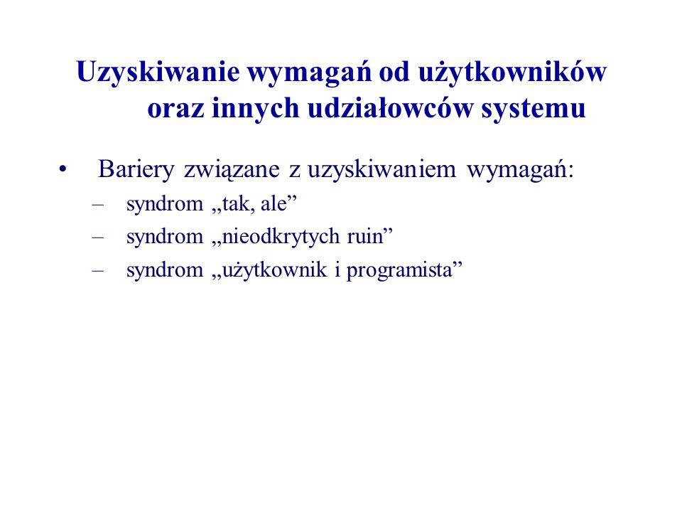 Uzyskiwanie wymagań od użytkowników oraz innych udziałowców systemu Bariery związane z uzyskiwaniem wymagań: –syndrom tak, ale –syndrom nieodkrytych ruin –syndrom użytkownik i programista