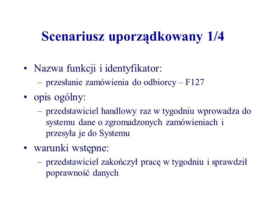 Scenariusz uporządkowany 1/4 Nazwa funkcji i identyfikator: –przesłanie zamówienia do odbiorcy – F127 opis ogólny: –przedstawiciel handlowy raz w tygo