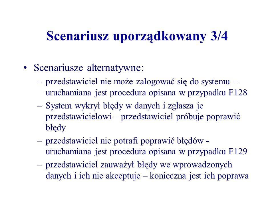 Scenariusz uporządkowany 3/4 Scenariusze alternatywne: –przedstawiciel nie może zalogować się do systemu – uruchamiana jest procedura opisana w przypadku F128 –System wykrył błędy w danych i zgłasza je przedstawicielowi – przedstawiciel próbuje poprawić błędy –przedstawiciel nie potrafi poprawić błędów - uruchamiana jest procedura opisana w przypadku F129 –przedstawiciel zauważył błędy we wprowadzonych danych i ich nie akceptuje – konieczna jest ich poprawa