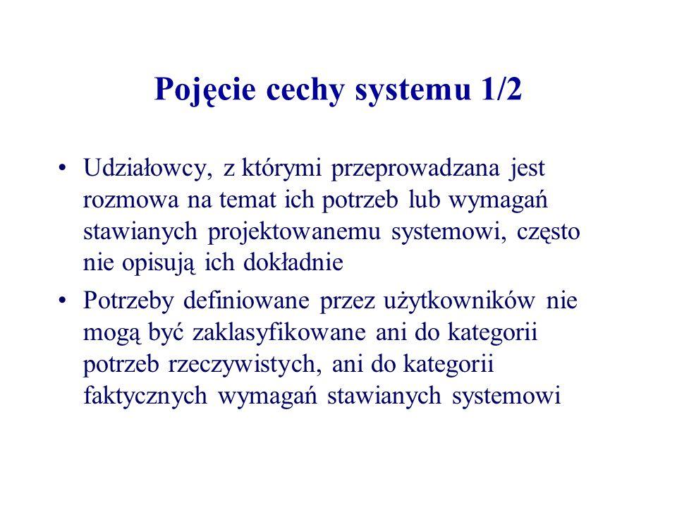 Pojęcie cechy systemu 1/2 Udziałowcy, z którymi przeprowadzana jest rozmowa na temat ich potrzeb lub wymagań stawianych projektowanemu systemowi, częs