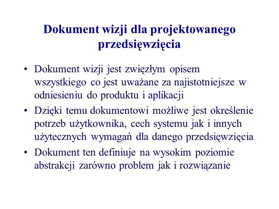 Dokument wizji dla projektowanego przedsięwzięcia Dokument wizji jest zwięzłym opisem wszystkiego co jest uważane za najistotniejsze w odniesieniu do produktu i aplikacji Dzięki temu dokumentowi możliwe jest określenie potrzeb użytkownika, cech systemu jak i innych użytecznych wymagań dla danego przedsięwzięcia Dokument ten definiuje na wysokim poziomie abstrakcji zarówno problem jak i rozwiązanie