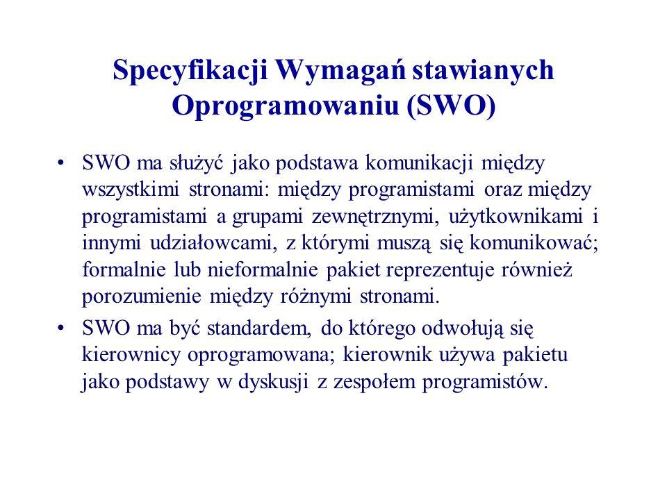 Specyfikacji Wymagań stawianych Oprogramowaniu (SWO) SWO ma służyć jako podstawa komunikacji między wszystkimi stronami: między programistami oraz między programistami a grupami zewnętrznymi, użytkownikami i innymi udziałowcami, z którymi muszą się komunikować; formalnie lub nieformalnie pakiet reprezentuje również porozumienie między różnymi stronami.
