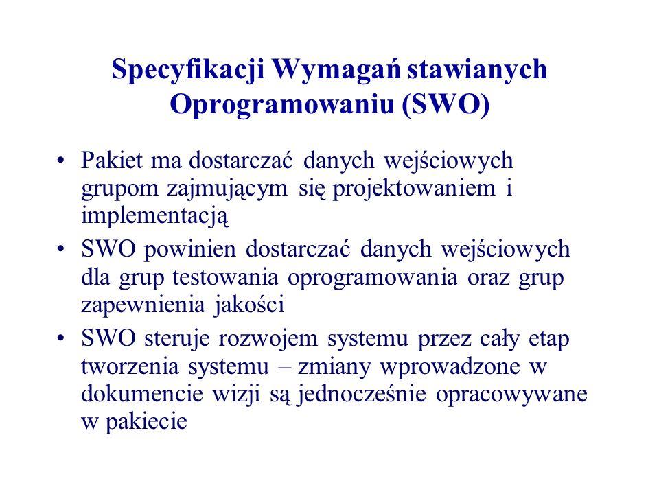 Specyfikacji Wymagań stawianych Oprogramowaniu (SWO) Pakiet ma dostarczać danych wejściowych grupom zajmującym się projektowaniem i implementacją SWO powinien dostarczać danych wejściowych dla grup testowania oprogramowania oraz grup zapewnienia jakości SWO steruje rozwojem systemu przez cały etap tworzenia systemu – zmiany wprowadzone w dokumencie wizji są jednocześnie opracowywane w pakiecie