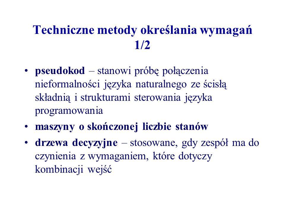 Techniczne metody określania wymagań 1/2 pseudokod – stanowi próbę połączenia nieformalności języka naturalnego ze ścisłą składnią i strukturami sterowania języka programowania maszyny o skończonej liczbie stanów drzewa decyzyjne – stosowane, gdy zespół ma do czynienia z wymaganiem, które dotyczy kombinacji wejść