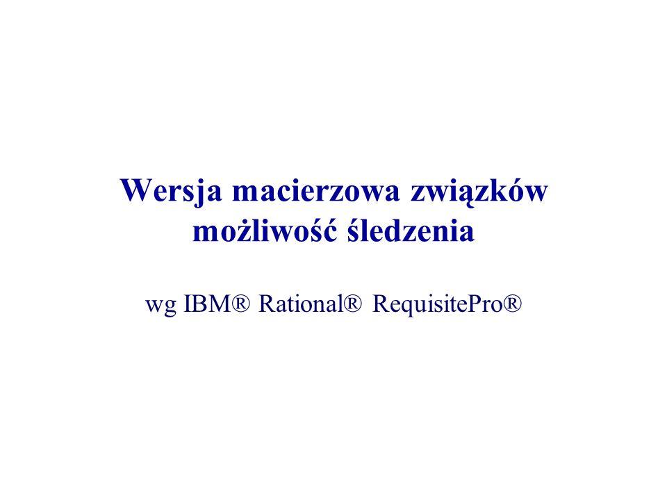 Wersja macierzowa związków możliwość śledzenia wg IBM® Rational® RequisitePro®