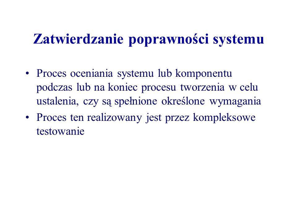 Zatwierdzanie poprawności systemu Proces oceniania systemu lub komponentu podczas lub na koniec procesu tworzenia w celu ustalenia, czy są spełnione określone wymagania Proces ten realizowany jest przez kompleksowe testowanie