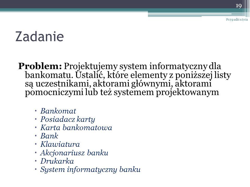 Zadanie Problem: Projektujemy system informatyczny dla bankomatu.