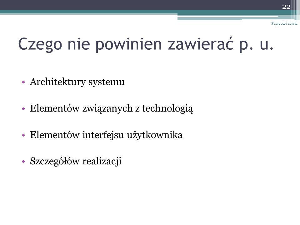 Czego nie powinien zawierać p. u. Architektury systemu Elementów związanych z technologią Elementów interfejsu użytkownika Szczegółów realizacji Przyp