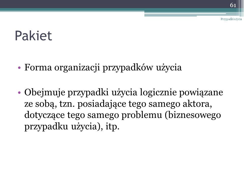 Pakiet Forma organizacji przypadków użycia Obejmuje przypadki użycia logicznie powiązane ze sobą, tzn.