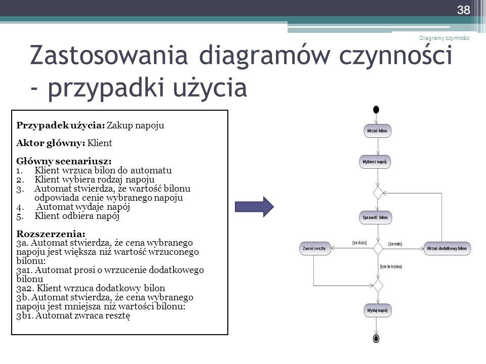 Zastosowania diagramów czynności - przypadki użycia Diagramy czynności 38 Przypadek użycia: Zakup napoju Aktor główny: Klient Główny scenariusz: 1.Kli