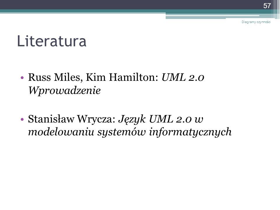 Literatura Russ Miles, Kim Hamilton: UML 2.0 Wprowadzenie Stanisław Wrycza: Język UML 2.0 w modelowaniu systemów informatycznych Diagramy czynności 57