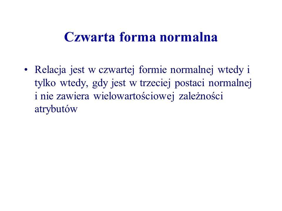 Czwarta forma normalna Relacja jest w czwartej formie normalnej wtedy i tylko wtedy, gdy jest w trzeciej postaci normalnej i nie zawiera wielowartości
