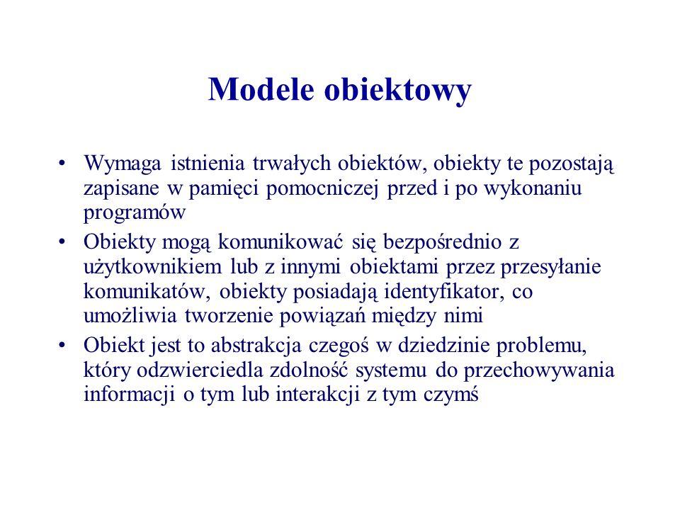 Modele obiektowy Wymaga istnienia trwałych obiektów, obiekty te pozostają zapisane w pamięci pomocniczej przed i po wykonaniu programów Obiekty mogą k