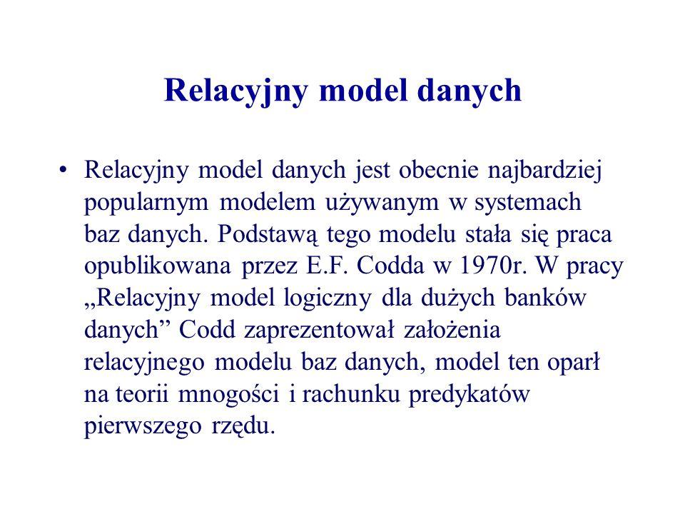 Relacyjny model danych Relacyjny model danych jest obecnie najbardziej popularnym modelem używanym w systemach baz danych. Podstawą tego modelu stała