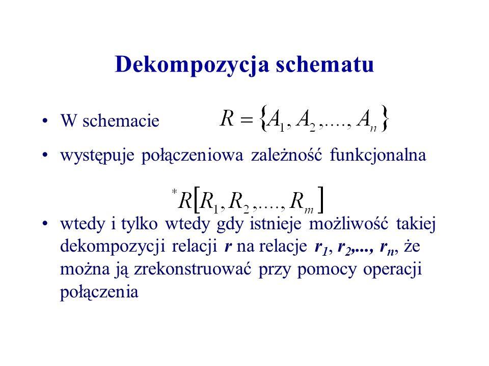 Dekompozycja schematu W schemacie występuje połączeniowa zależność funkcjonalna wtedy i tylko wtedy gdy istnieje możliwość takiej dekompozycji relacji