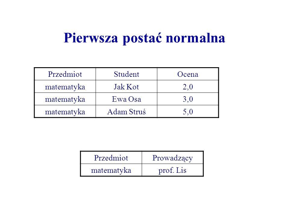 Pierwsza postać normalna PrzedmiotStudentOcena matematykaJak Kot2,0 matematykaEwa Osa3,0 matematykaAdam Struś5,0 PrzedmiotProwadzący matematykaprof. L