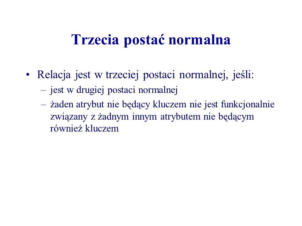 Trzecia postać normalna Relacja jest w trzeciej postaci normalnej, jeśli: –jest w drugiej postaci normalnej –żaden atrybut nie będący kluczem nie jest