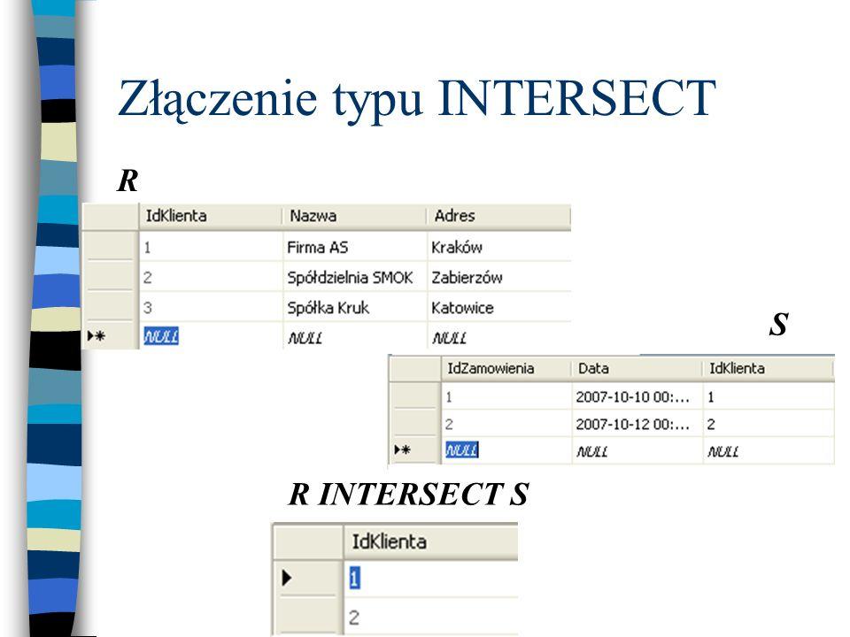 Złączenie typu INTERSECT R S R INTERSECT S
