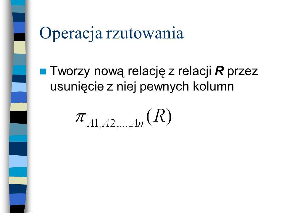 Operacja rzutowania Tworzy nową relację z relacji R przez usunięcie z niej pewnych kolumn