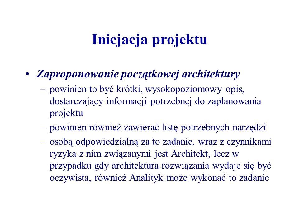 Inicjacja projektu Zaplanowanie całego projektu i dopracowanie uzasadnienia biznesowego (ang.
