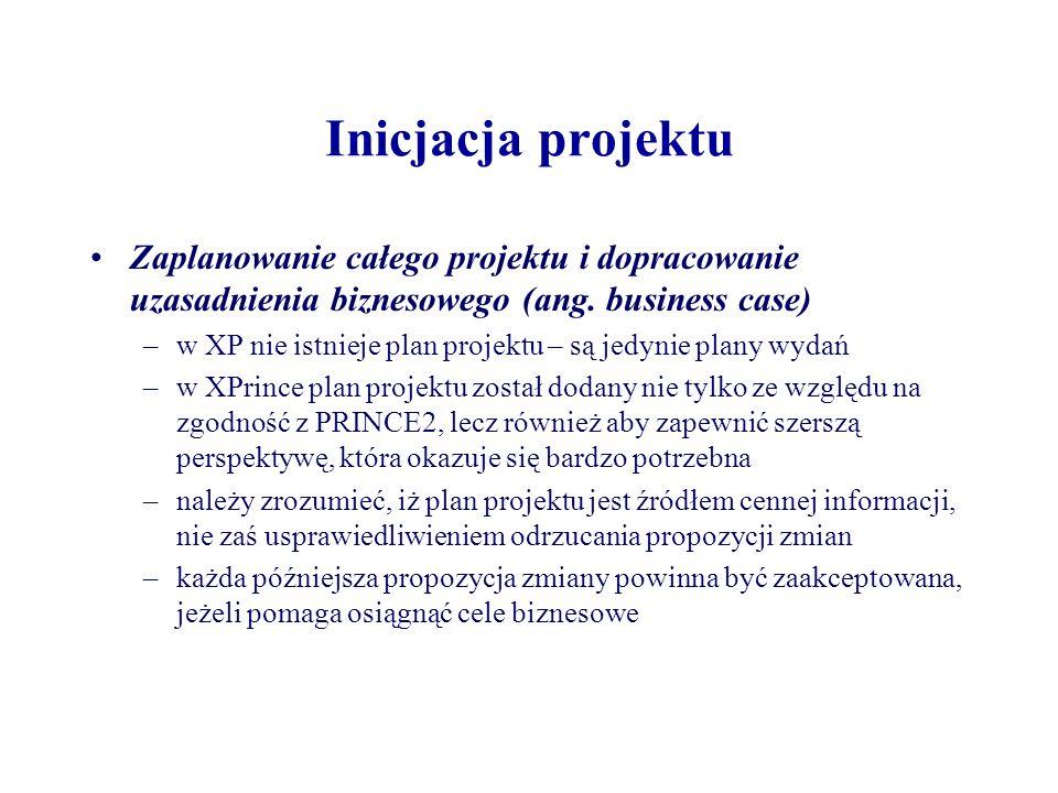 Inicjacja projektu Ustalenie kanałów komunikacyjnych i środowiska zarządzania projektem –kanały komunikacyjne obejmują raporty (np.