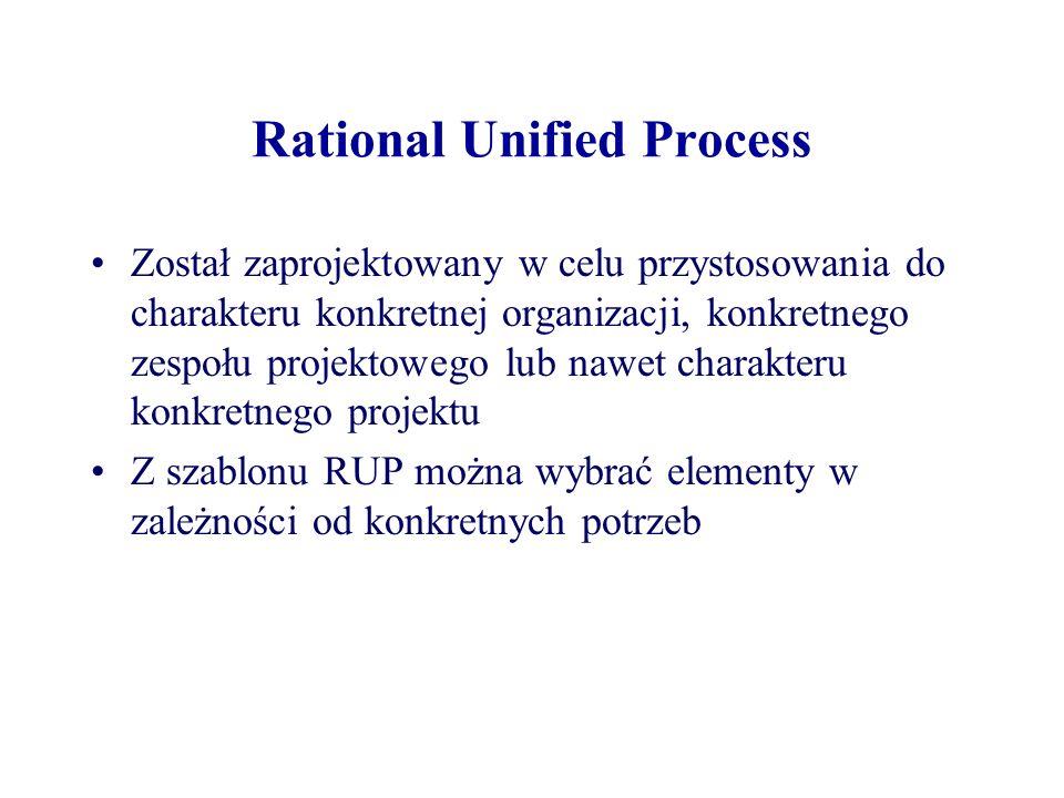 Rational Unified Process Rational Unified Process (RUP) to także nazwa oprogramowania, opracowanego przez Rational Software (obecnie dostępnego w IBM) zawierającego hipertekstową bazę wiedzy z przykładowymi artefaktami oraz szczegółowymi opisami wielu typów czynności Process RUP definiowany jest także w produkcie Rational Method Composer (RMC), który pozwala na tworzenie spersonalizowanych wersji RUP
