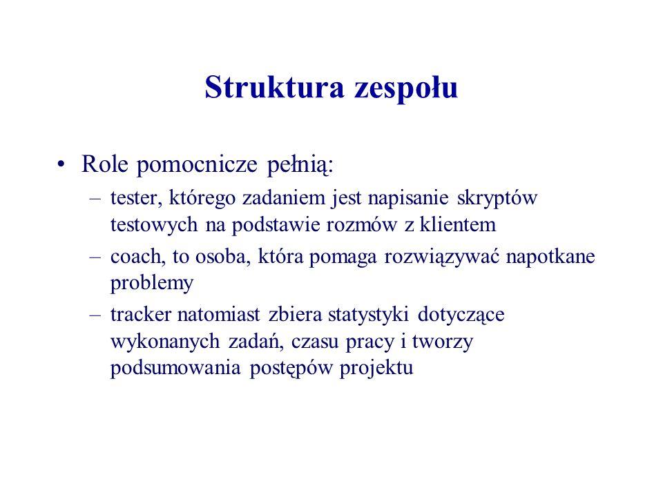Struktura zespołu Role pomocnicze pełnią: –tester, którego zadaniem jest napisanie skryptów testowych na podstawie rozmów z klientem –coach, to osoba,