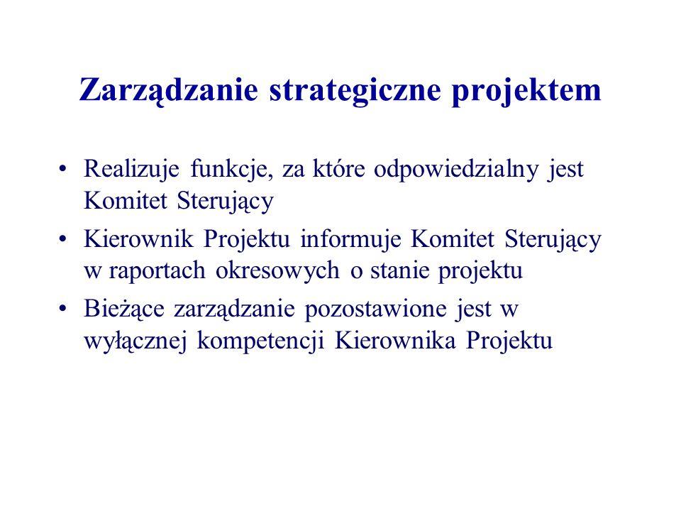 Zarządzanie strategiczne projektem Komitet Sterujący angażuje się tylko na granicach etapów zarządczych, gdzie decyduje, czy należy kontynuować prace przechodząc do następnego etapu Fundamentalną zasadą PRINCE2 jest zarządzanie poprzez wyjątki management by exception, co oznacza, że Komitet Sterujący angażuje się w podejmowanie decyzji projektowych jedynie, gdy uzyska informacje, że projekt jest zagrożony wyjściem poza zakres tolerancji