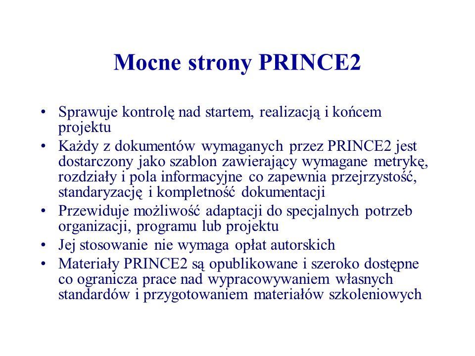 Słabości PRINCE2 Dużo organizacji cierpi na syndrom PINO (Prince In Name Only tzn.