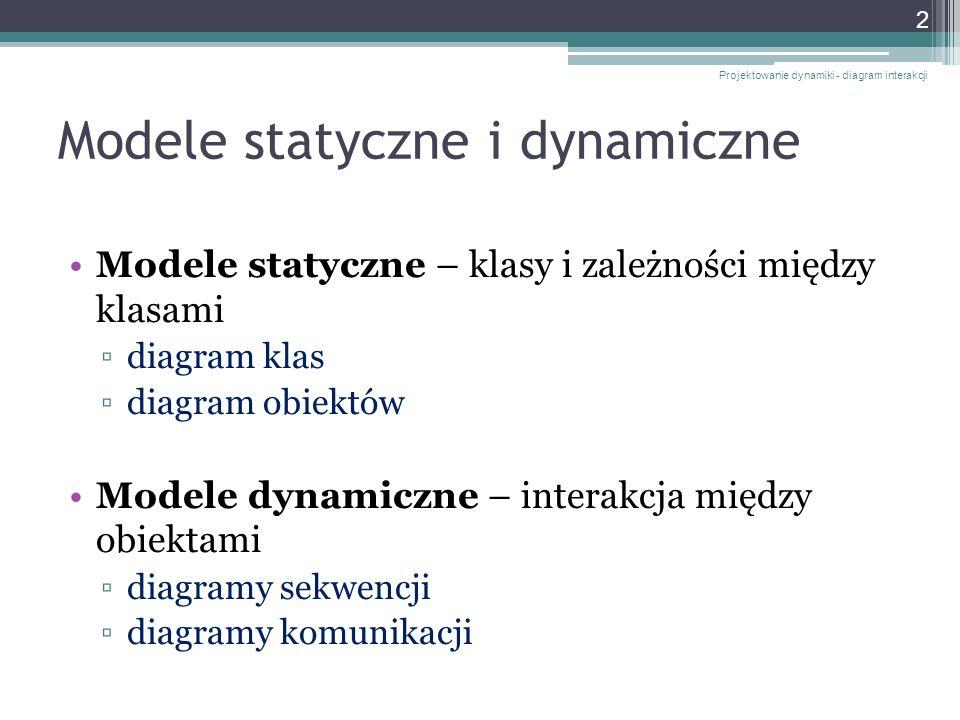 Modele statyczne i dynamiczne Modele statyczne – klasy i zależności między klasami diagram klas diagram obiektów Modele dynamiczne – interakcja między