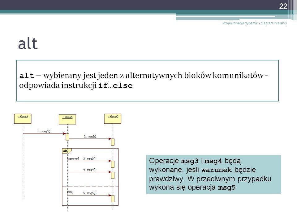 alt Projektowanie dynamiki - diagram interakcji 22 alt – wybierany jest jeden z alternatywnych bloków komunikatów - odpowiada instrukcji if…else Opera