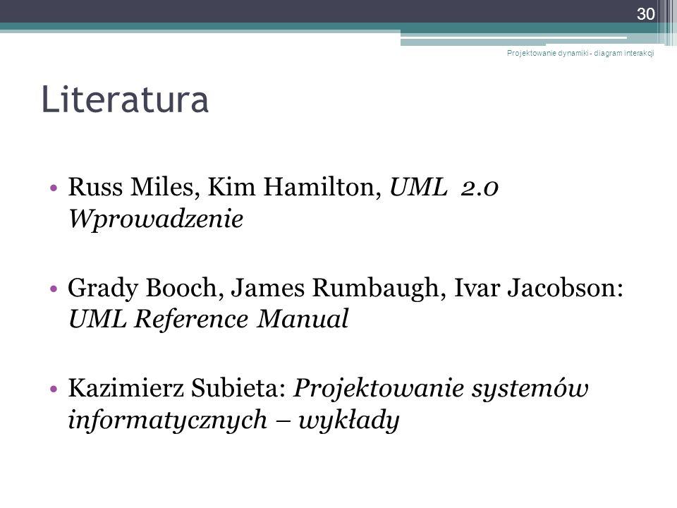 Literatura Russ Miles, Kim Hamilton, UML 2.0 Wprowadzenie Grady Booch, James Rumbaugh, Ivar Jacobson: UML Reference Manual Kazimierz Subieta: Projekto