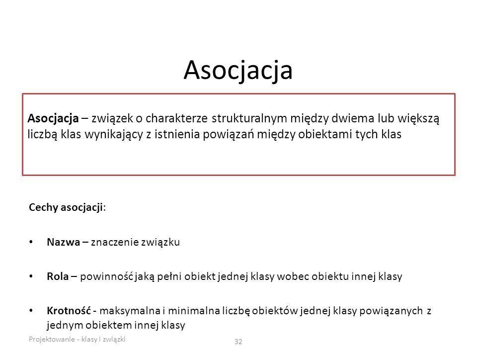 Asocjacja Cechy asocjacji: Nazwa – znaczenie związku Rola – powinność jaką pełni obiekt jednej klasy wobec obiektu innej klasy Krotność - maksymalna i