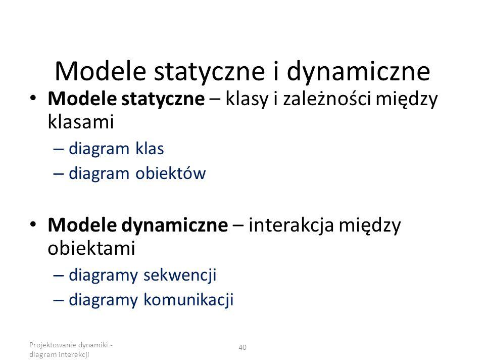 Modele statyczne i dynamiczne Modele statyczne – klasy i zależności między klasami – diagram klas – diagram obiektów Modele dynamiczne – interakcja mi