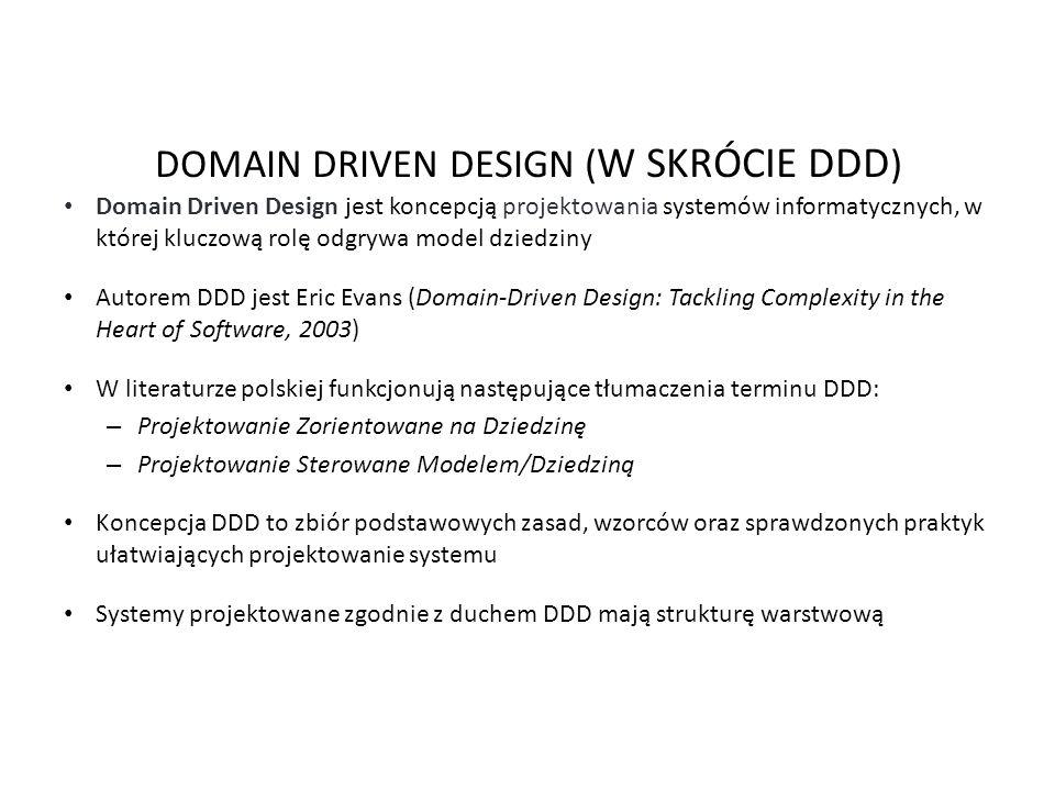 DOMAIN DRIVEN DESIGN ( W SKRÓCIE DDD ) Domain Driven Design jest koncepcją projektowania systemów informatycznych, w której kluczową rolę odgrywa mode
