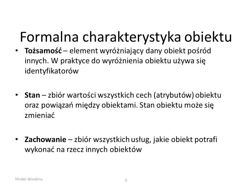 Formalna charakterystyka obiektu Tożsamość – element wyróżniający dany obiekt pośród innych. W praktyce do wyróżnienia obiektu używa się identyfikator
