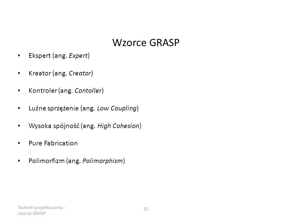Wzorce GRASP Ekspert (ang. Expert) Kreator (ang. Creator) Kontroler (ang. Contoller) Luźne sprzężenie (ang. Low Coupling) Wysoka spójność (ang. High C