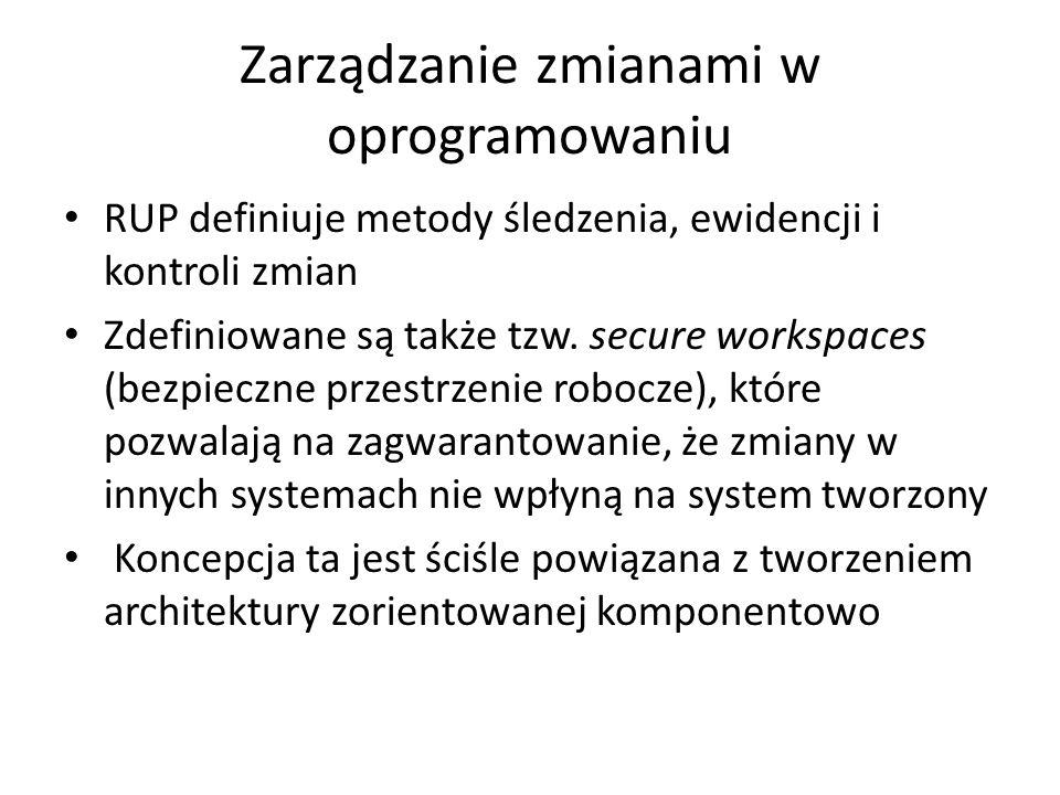 Zarządzanie zmianami w oprogramowaniu RUP definiuje metody śledzenia, ewidencji i kontroli zmian Zdefiniowane są także tzw. secure workspaces (bezpiec
