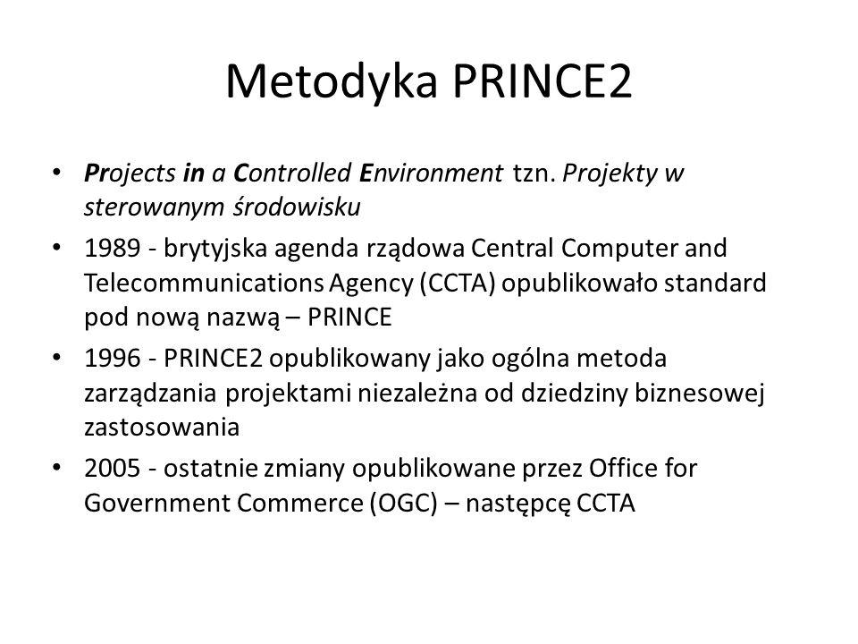 Metodyka PRINCE2 Projects in a Controlled Environment tzn. Projekty w sterowanym środowisku 1989 - brytyjska agenda rządowa Central Computer and Telec