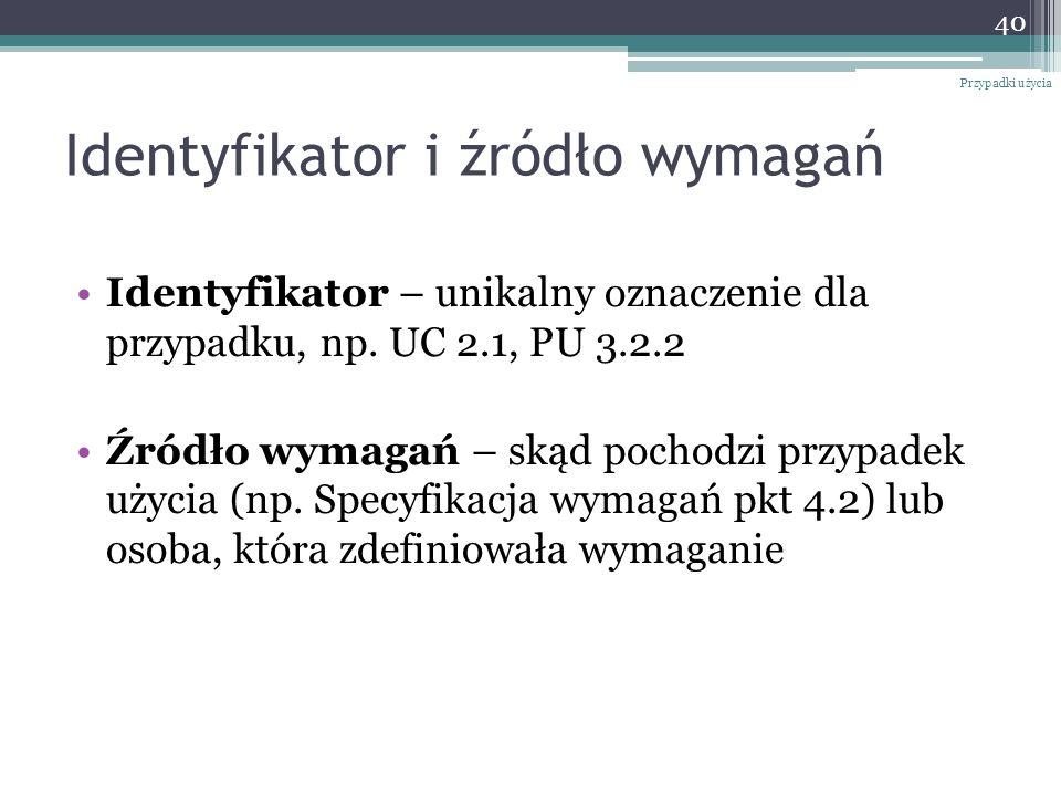 Identyfikator i źródło wymagań Identyfikator – unikalny oznaczenie dla przypadku, np. UC 2.1, PU 3.2.2 Źródło wymagań – skąd pochodzi przypadek użycia
